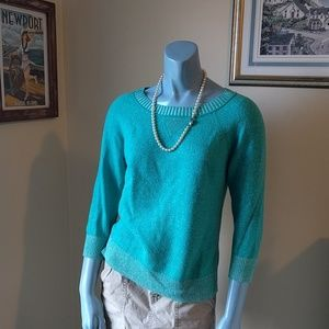 Teal Marino Wool 3/4 Sleeve Sweater